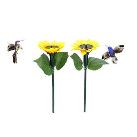 Set of 2 - Solar Fluttering Hummingbird with Sunflower (Height 39 Cm) - Yellow, Blue and Multi