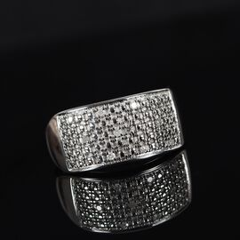 Diamond Cluster Ring in Platinum Plated Sterling Silver