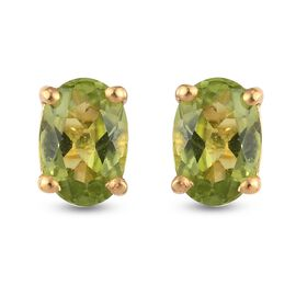 Peridot Stud Earrings (with Push Back) in 14K Gold Overlay Sterling Silver 1.83 Ct.