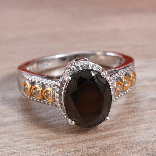 Elite Shungite (Ovl 10x8 mm), Natural Cambodian Zircon Ring in Platinum and Yellow Gold Overlay Sterling Silver 1.60 Ct.