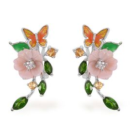 JARDIN COLLECTION - Pink Mother of Pearl, Russian Diopsode, Citrine and Natural White Cambodian Zircon Enameled Floral Earrings (with French Clasp) in Rhodium Overlay Sterling Silver