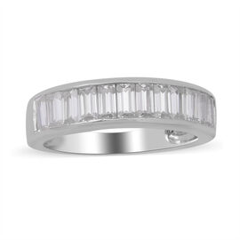 Moissanite Ring in Rhodium Overlay Sterling Silver 1.52 Ct.