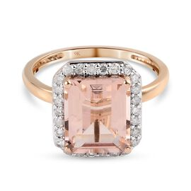 9K Rose Gold Morropino Morganite and Diamond Halo Ring 4.63 Ct.