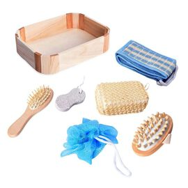 7 Piece Set - Bath Kit in Wooden Box (Included Chenille Back Scrubber, Wooden Hair Brush, Pumice Sto