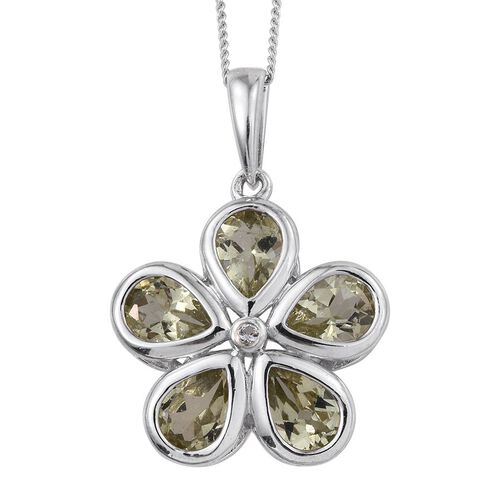 Natural Canary Apatite (Pear), White Topaz Floral Pendant With Chain in Platinum Overlay Sterling Silver 3.250 Ct.