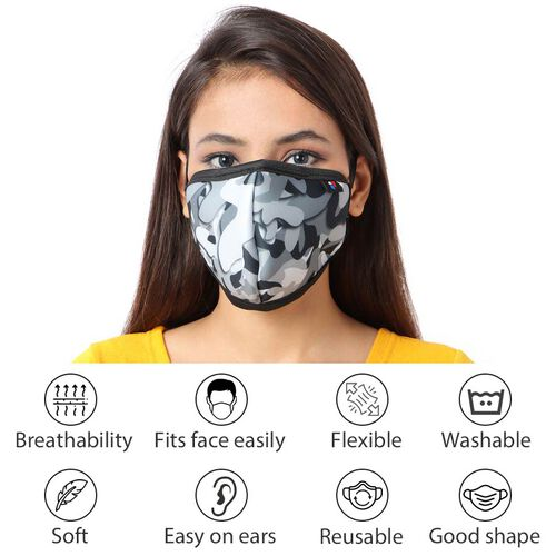 6 Layer Camouflage Pattern Reusable Face Covering (One Size) - Grey