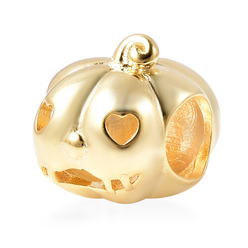 Charmes De Memoire - Yellow Gold Overlay Sterling Silver Heart-Eye Carved Pumpkin Charm