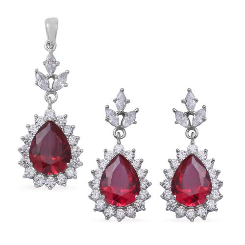 ELANZA Simulated Ruby (Pear 13x10 mm), Simulated Diamond Drop Dangle Earrings (with Push Back) and Pendant in Rhodium Overlay Sterling Silver, Silver wt 8.00 Gms.