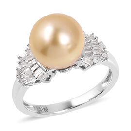 Golden South Sea Pearl (Rnd), Diamond Ring in Rhodium Overlay Sterling Silver