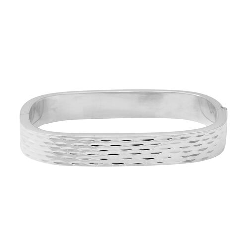 Diamond Cut Bangle in Thai Sterling Silver 7.5 Inch