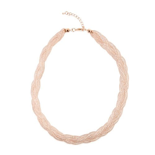 White Austrian Crystal (Rnd) Twisted Herringbone Necklace (Size 20 with 2 inch Extender) in Rose Gol