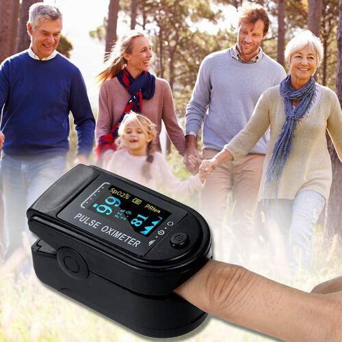 Pulse Oximeter, Oxygen Saturation Monitor (Requires 2 AAA Batteries - Not Included) - Black