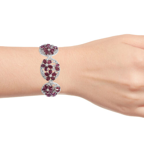 Limited Available-African Ruby (Pear 20.35 Ct), Natural White Cambodian Zircon Flower  Bracelet (Size 7.5) in Platinum Overlay Sterling Silver 21.750 Ct, Silver wt 14.85 Gms.