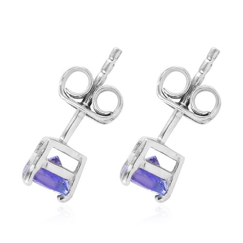 Tanzanite 0.75 Ct Silver Solitaire Stud Earrings (with Push Back) in Platinum Overlay