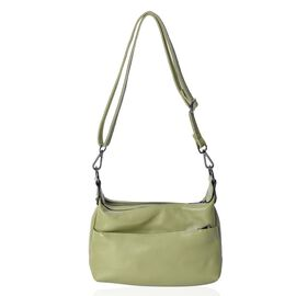 Close Out Deal - 100% Genuine Leather Green Colour Multi Pocket Crossbody Bag with Removable Shoulde