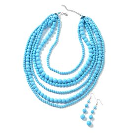2 Piece Set - Blue Howlite Multi Row Necklace (Size 18 with 2 inch Extender) and Hook Earrings in Si