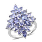 Tanzanite (Ovl) Cluster Ring (Size S) in Platinum Overlay Sterling Silver   3.750 Ct.