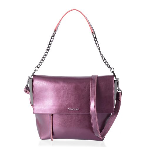 Sencillez 100% Genuine Leather  Metallic Purple Shoulder Bag with External Zipper Pocket and Removab