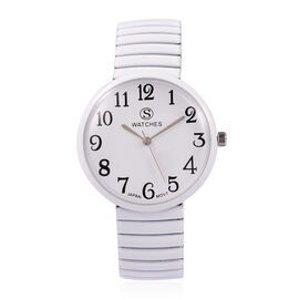 One Time Deal- Designer Inspired STRADA Japanese Movement Water Resistant Stretchable Watch with White Strap