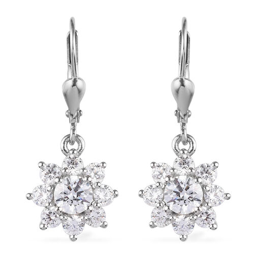 J Francis - Platinum Overlay Sterling Silver Lever Back Floral Halo Earrings Made with SWAROVSKI ZIR
