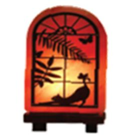 Cat On Window 3D Himalayan Salt Lamp (Size 23x15 Cm) - Pink 5 Kg (11 Lbs)