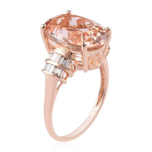 Signature Collection-14K Rose Gold AAA Marropino Morganite and Diamond (I3/G-H) Ring 6.00 Ct.