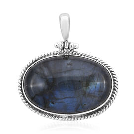 Royal Bali 33.73 Ct Labradorite Solitaire Pendant in Sterling Silver