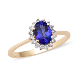 1.04 Ct AAA Tanzanite and Diamond Halo Ring in 9K Yellow Gold