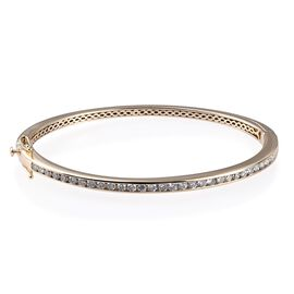 9K Yellow Gold SGL Certified Diamond (I3/G-H) Bangle (Size 7.5) 2.25 ct,  Gold Wt. 18.30 Gms