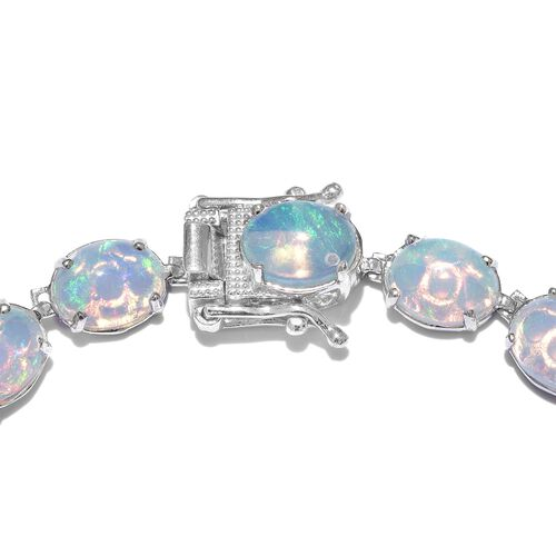 Limited Edition - Rare Size Ethiopian Welo Opal (Ovl) Bracelet (Size 7.5) in Platinum Overlay Sterling Silver 19.000 Ct , Silver wt 8.70 Gms