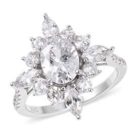 ELANZA Simulated Diamond (Ovl) Ring in Rhodium Overlay Sterling Silver, Silver wt 3.17 Gms