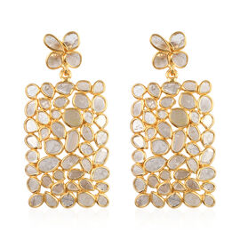 Artisan Crafted Polki Diamond Earrings (with Push Back) in 14K Gold Overlay Sterling Silver 6.00 Ct,
