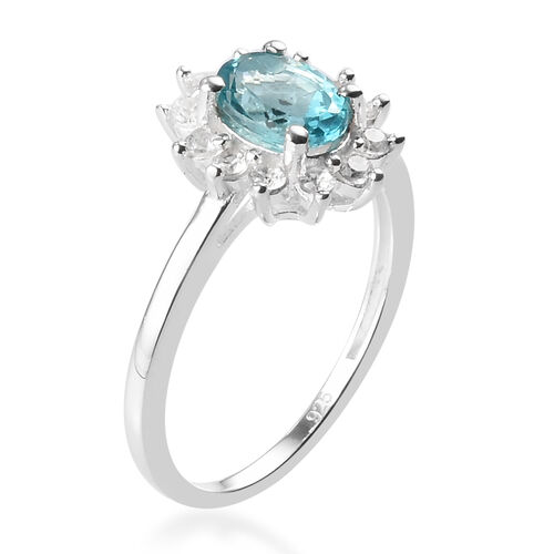Paraiba Apatite and Natural Cambodian Zircon Halo Ring in Sterling Silver 1.21 Ct.