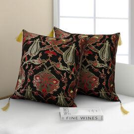 Set of 2 -  Turkish Handmade Cushion Covers with Zipper Closure (Size 45.72x45.72 cm) - Black