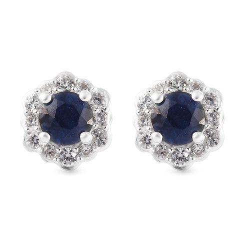 Masoala Blue Sapphire and Natural Cambodian Zircon Floral Stud Earrings (with Push Back) in Platinum