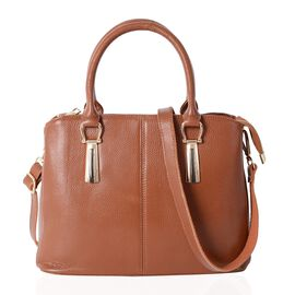 100% Genuine Leather Tan Colour Tote Bag with External Zipper Pocket and Removable Shoulder Strap (Size 29.5x22x12.5 Cm)
