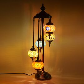 Handmade Turkish Moroccan Style 5 Globe Mosaic Glass Table Lamp with Bronze Base (Size 85x20 Cm) - M
