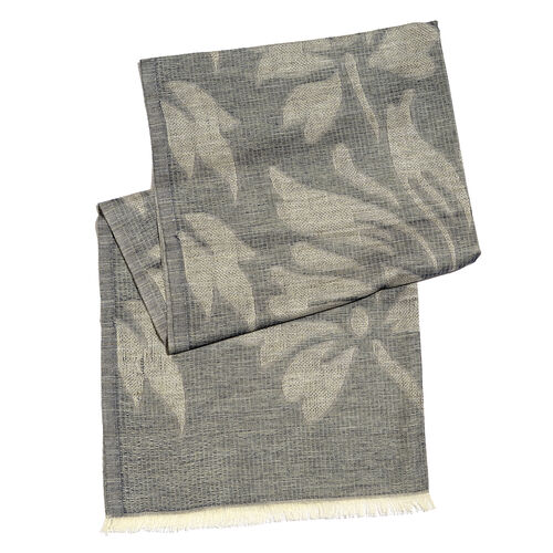 Blended Silver Filigree Floral Jacquard Weave Scarf (Size 200x70 Cm)