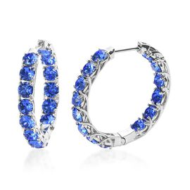 J Francis - Crystal from Swarovski Sapphire Colour Crystal (Rnd) Hoop Earrings (with Clasp) in Plati