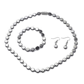 3 Piece Set - Hematite Necklace (Size 18), Stretchable Bracelet (Size 7.5 ) and Hook Earrings in Sta