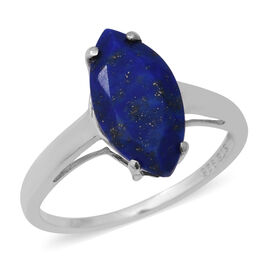 Lapis Lazuli (Mrq 16x8 mm) Solitaire Ring in Sterling Silver 4.15 Ct.