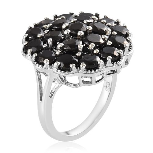 Elite Shungite (Rnd), Boi Ploi Black Spinel Cluster Ring in Platinum Overlay Sterling Silver 3.98 Ct.