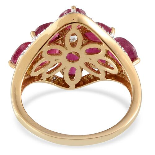 African Ruby (Ovl), White Topaz and Diamond Ring in 14K Gold Overlay Sterling Silver 6.620 Ct.