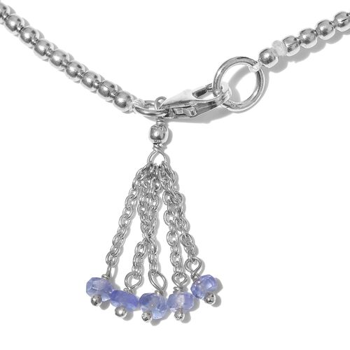 One Time Deal-Tanzanite (Rnd) Bracelet (Size 7.5) with Lobster Lock in Platinum Overlay Sterling Silver 1.000  Ct. Silver wt 4.00 Gms.