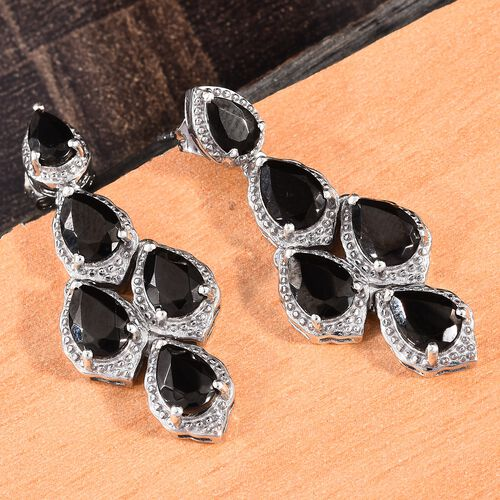 Elite Shungite (Pear) Dangling Earrings (with Push Back) in Platinum Overlay Sterling Silver 3.750 Ct. Silver wt. 6.41 Gms