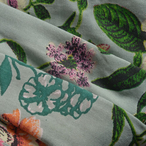 New for Summer - Green and Multi Colour Floral Print Straight Dress (Size 100x60 Cm)