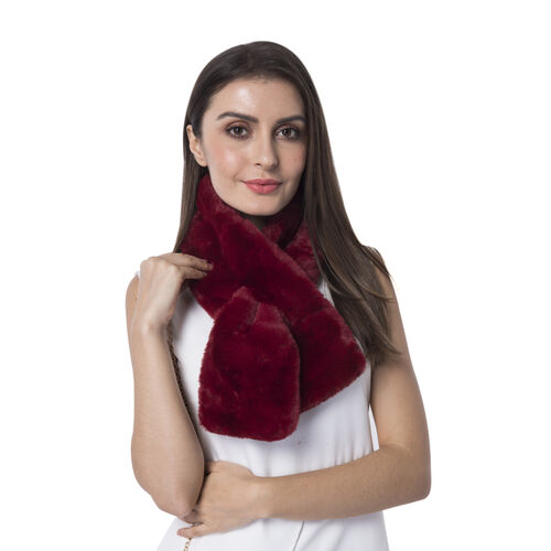 Ultra Soft Faux Fur Handbag and Scarf Set - (Bag size: 20x22cm) - Red
