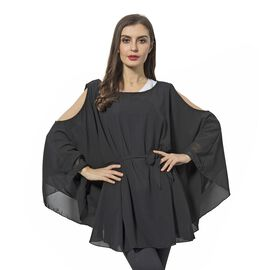 Cold Shoulder Black Top - Size One to Fit Most