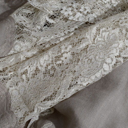 Designer Inspired One Time Offer - Cashmere Wool and Mulberry Silk Shawl With Lace Work and Fringes - Beige (Size 200X70 Cm)