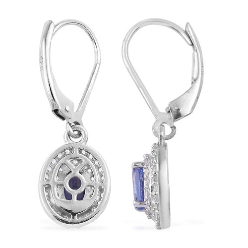 Tanzanite (Ovl), Natural Cambodian Zircon Lever Back Earrings in Platinum Overlay Sterling Silver 2.165 Ct.